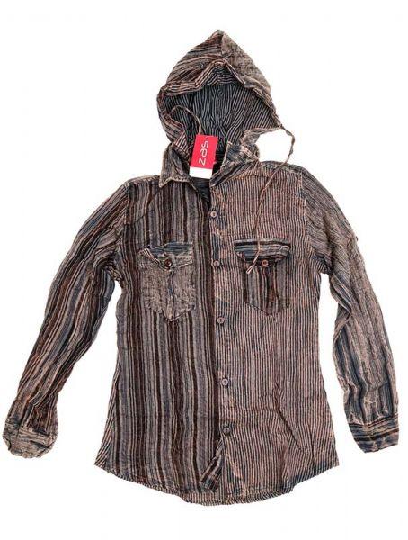 Camisas Hippies M Larga - Camisa de rayas de algodón CLEV07B - Modelo Negro