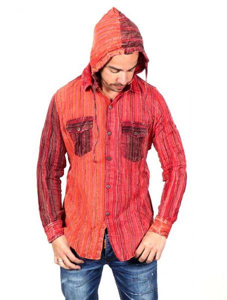 Camisa hippie de rayas manga larga capucha CLEV07B para comprar al por mayor o detalle  en la categoría de Ropa Hippie Alternativa para Hombre.