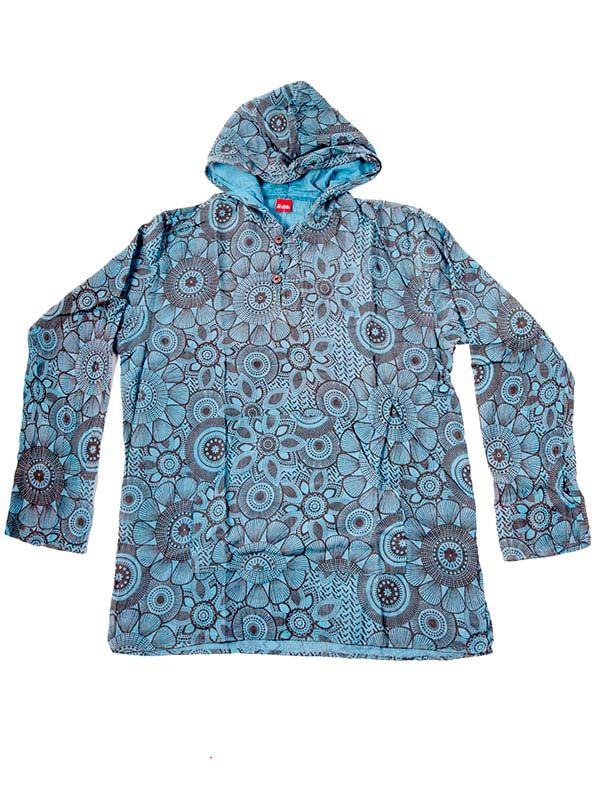 Camisas Hippies M Larga - Camisa tipo canguro de flores CLEV08 - Modelo Azul