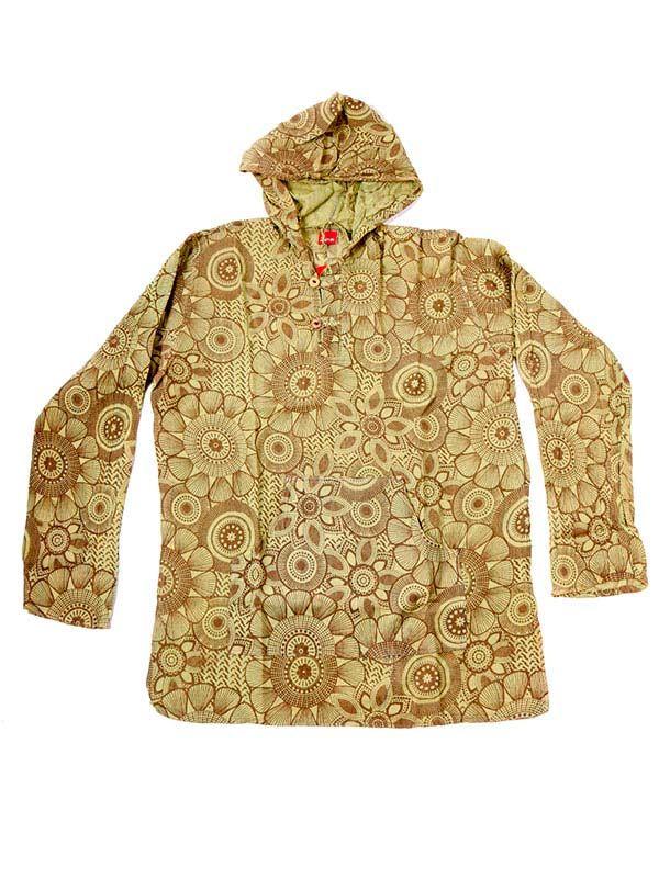 Camisas Hippies M Larga - Camisa tipo canguro de flores CLEV08 - Modelo Verde