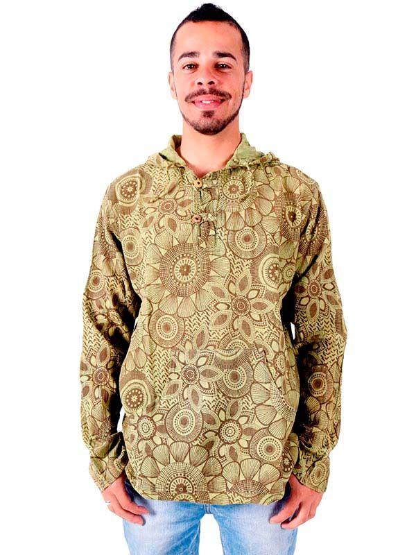 Camisas Hippies M Larga - Camisa hippie Flores lavada a la Piedra [CLEV08] para comprar al por mayor o detalle  en la categoría de Ropa Hippie Alternativa para Hombre.