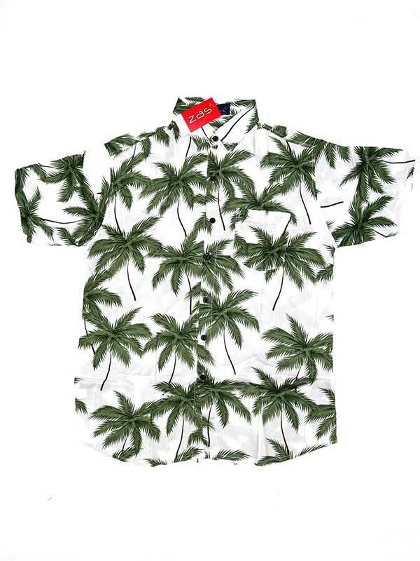Camisa de rayón con estampados de flores - Blanco Comprar al mayor o detalle