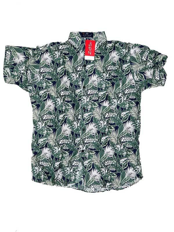 Camisa de rayón con estampados de flores - Verde Comprar al mayor o detalle