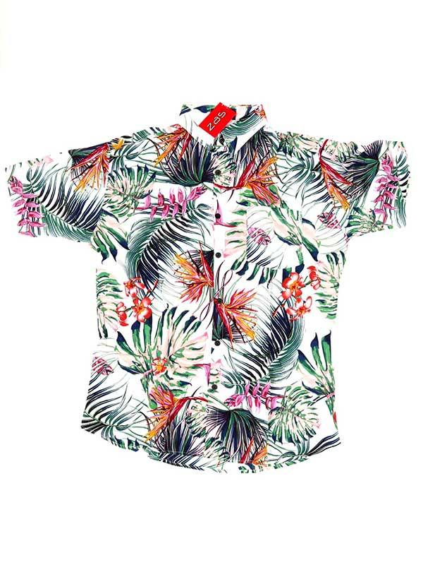 Camisas de Manga Corta - Camisa de rayón con estampados de flores CMEK04 para comprar al por Mayor o Detalle en la categoría de Ropa Hippie para Hombre