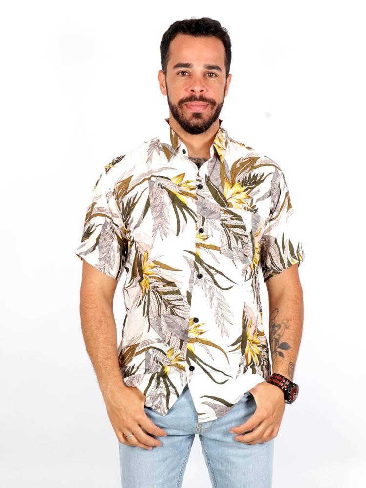 Camisas Hippies M Corta - Camisa de rayón con estampados de flores CMEK05 para comprar al por Mayor o Detalle en la categoría de Ropa Hippie Alternativa para Hombre