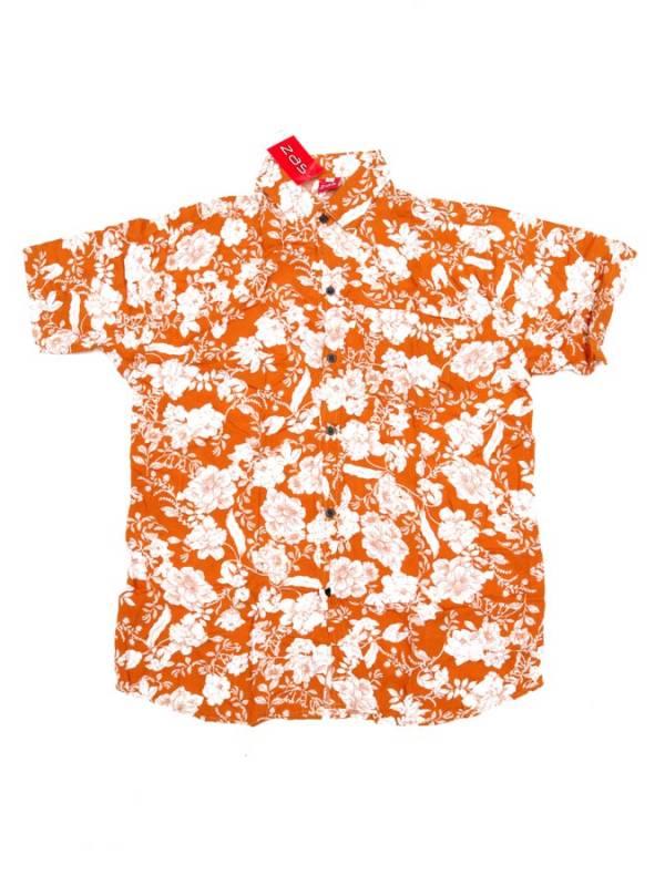 Camisa de rayón con estampados de flores - Naranja Comprar al mayor o detalle