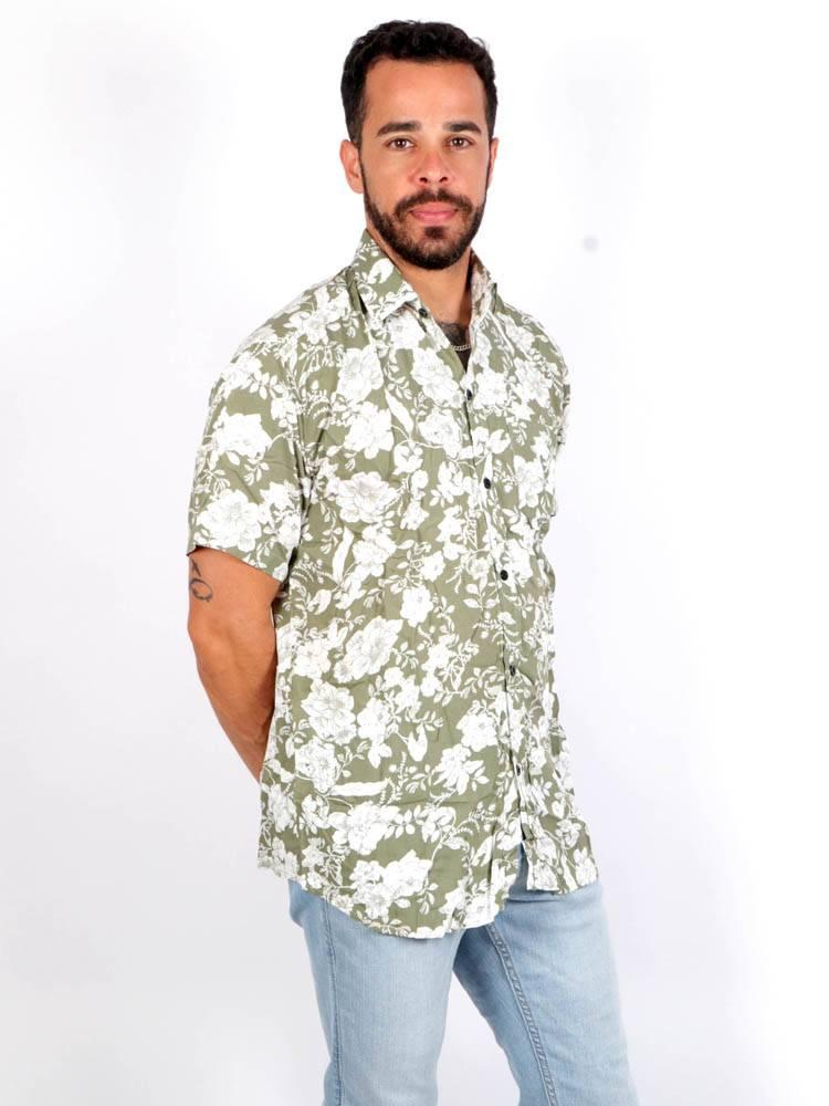 Camisa de rayón con estampados de flores [CMEK08] para comprar al por Mayor o Detalle en la categoría de Camisas de Manga Corta