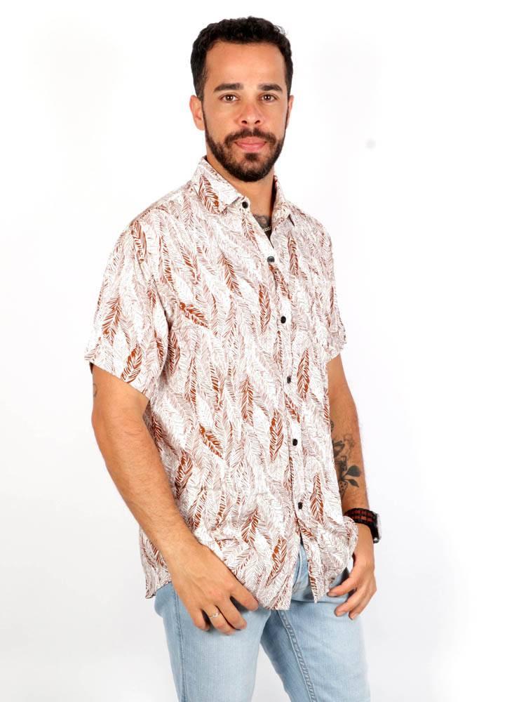 Camisa de rayón con estampados de Hojas [CMEK09] para comprar al por Mayor o Detalle en la categoría de Camisas de Manga Corta