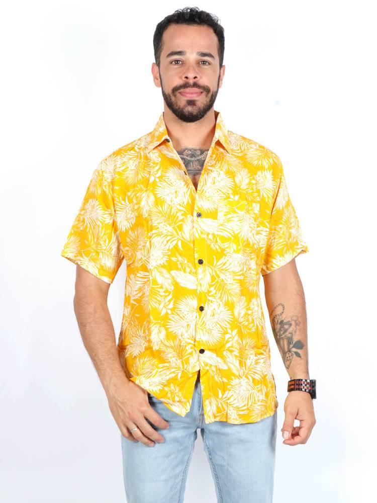 Camisa de rayón con estampados de flores [CMEK10] para comprar al por Mayor o Detalle en la categoría de Camisas de Manga Corta