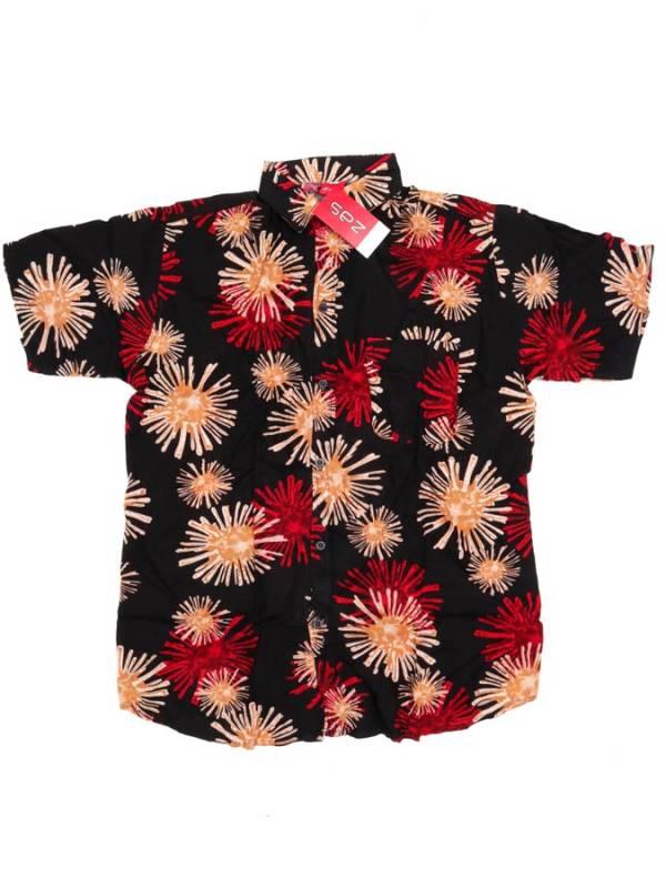 Camisa de rayón con estampados de flores - Rojo Comprar al mayor o detalle