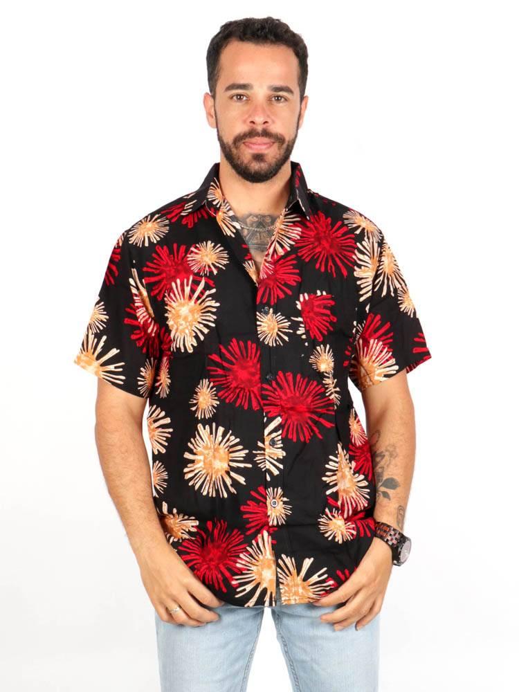 Camisa de rayón con estampados de flores [CMEK12] para comprar al por Mayor o Detalle en la categoría de Camisas de Manga Corta