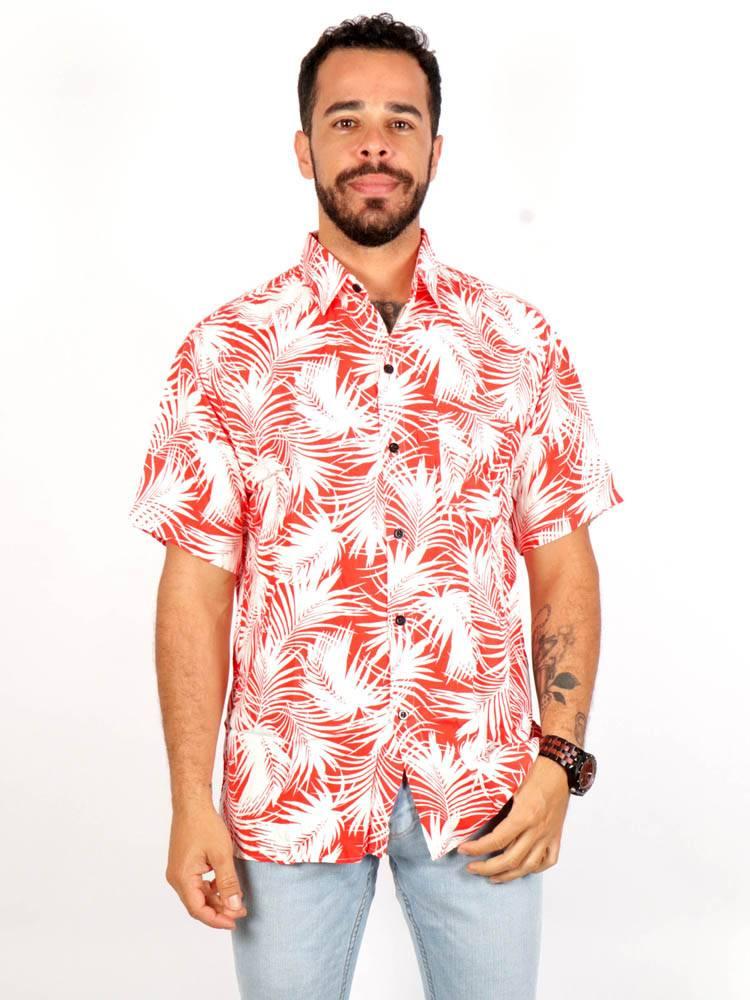 Camisa de rayón con estampados de flores [CMEK13] para comprar al por Mayor o Detalle en la categoría de Camisas de Manga Corta