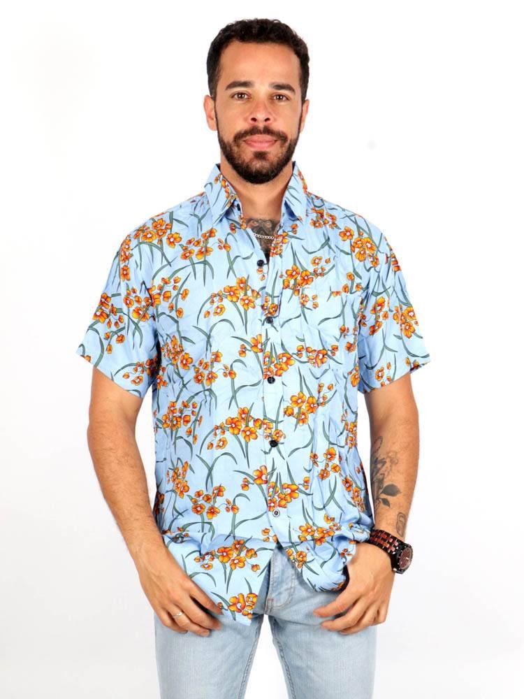 Camisa de rayón con estampados de flores [CMEK14] para comprar al por Mayor o Detalle en la categoría de Camisas de Manga Corta