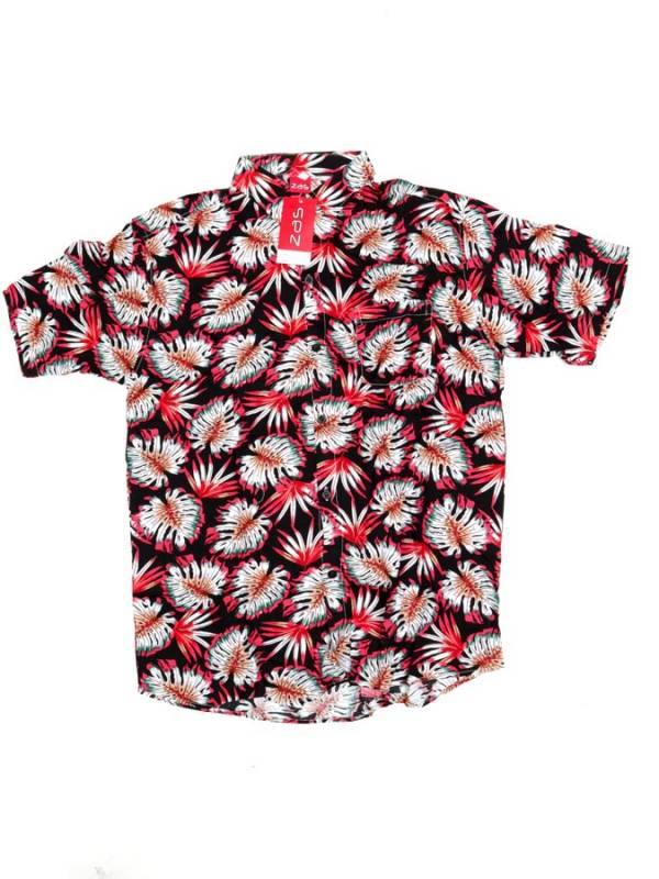Camisa de rayón con estampados de flores - Rojo2 Comprar al mayor o detalle