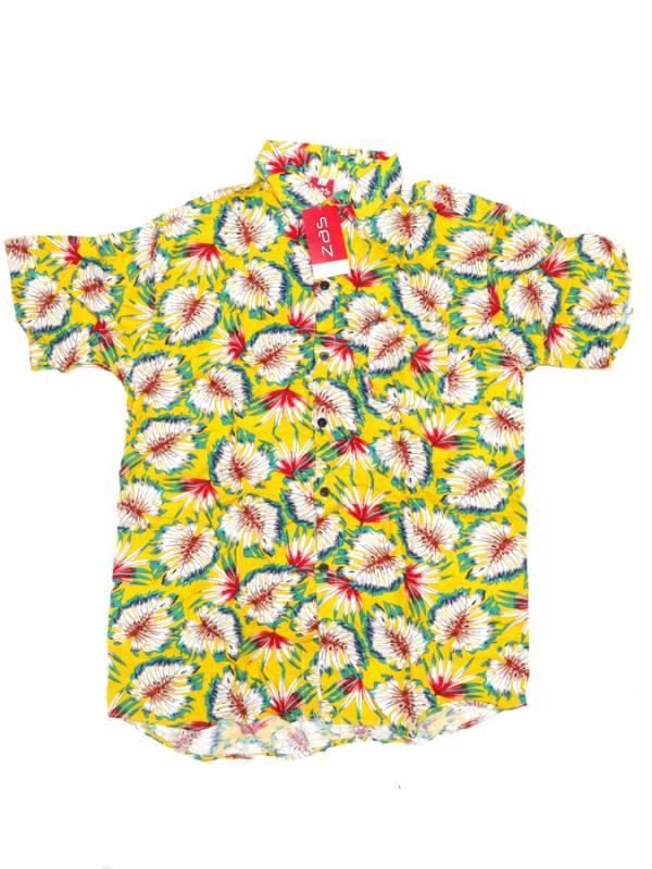 Camisa de rayón con estampados de flores - Amarillo Comprar al mayor o detalle