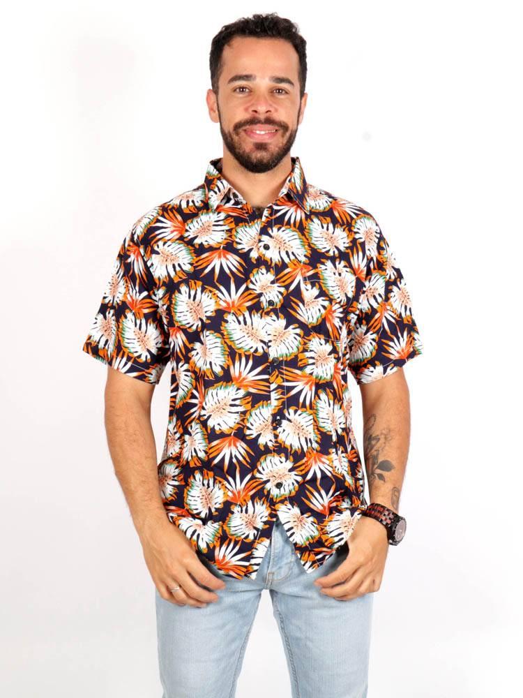 Camisa de rayón con estampados de flores [CMEK15] para comprar al por Mayor o Detalle en la categoría de Camisas de Manga Corta