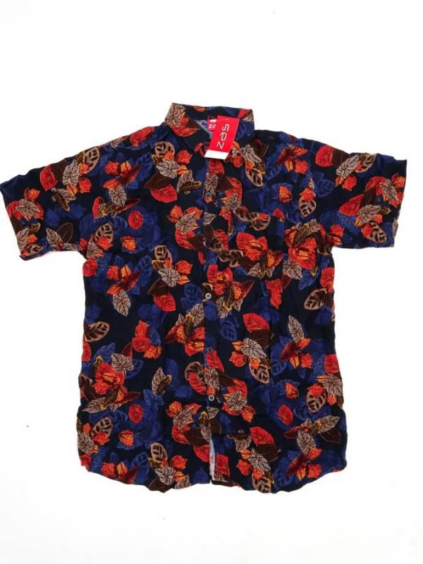 Camisa de rayón con estampados de flores - Azul Comprar al mayor o detalle