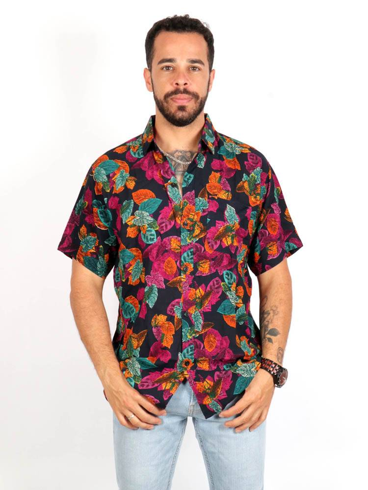 Camisa de rayón con estampados de flores [CMEK16] para comprar al por Mayor o Detalle en la categoría de Camisas de Manga Corta