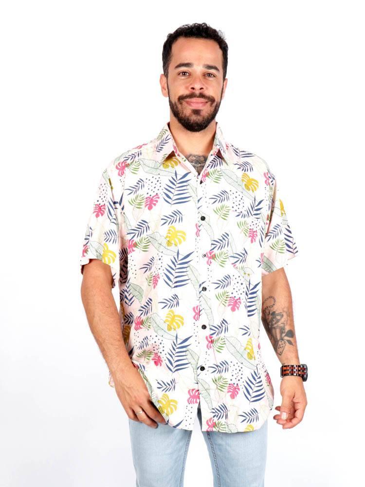 Camisa de rayón con estampados de flores [CMEK17] para comprar al por Mayor o Detalle en la categoría de Camisas de Manga Corta