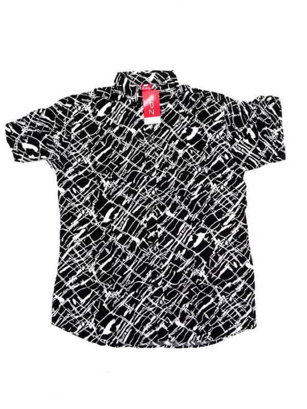 Camisa de rayón con estampados de flores - Negro Comprar al mayor o detalle