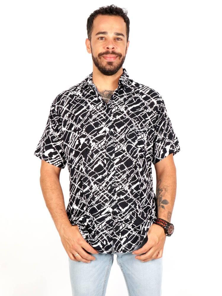 Camisa de rayón con estampados de flores [CMEK18] para comprar al por Mayor o Detalle en la categoría de Camisas de Manga Corta