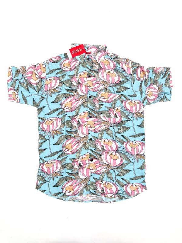 Camisa de rayón con estampados de flores - Azul cl Comprar al mayor o detalle