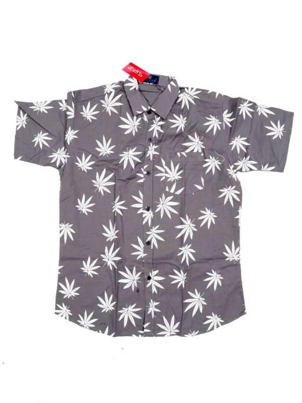 Camisa Hojas de Marihuana Grandes - Gris Comprar al mayor o detalle