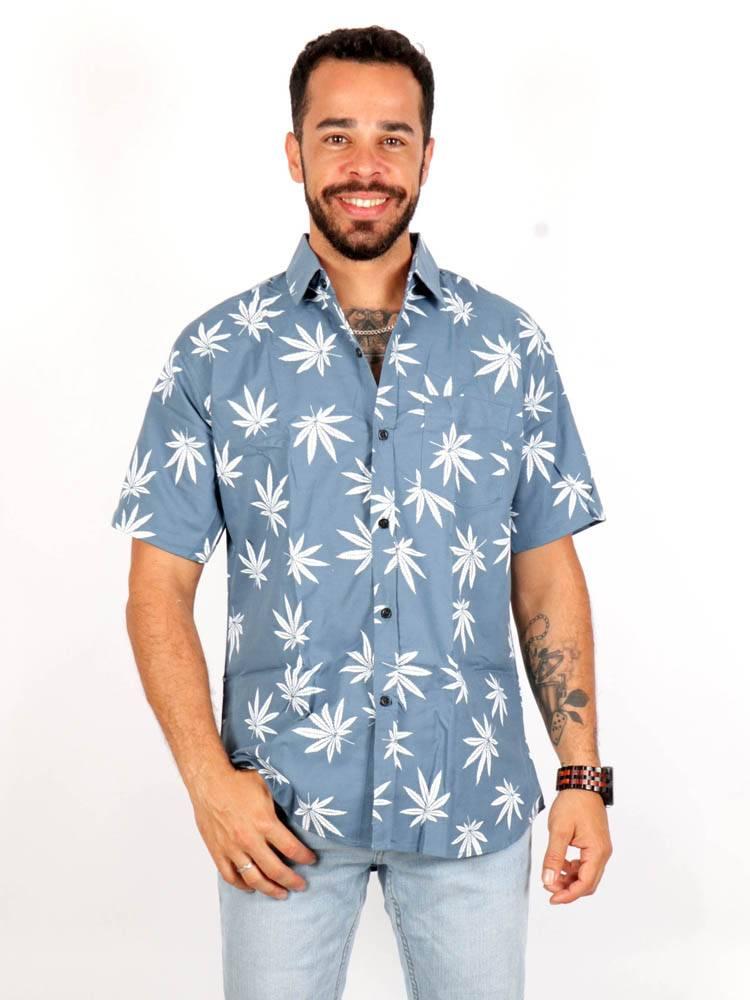Camisa Hojas de Marihuana Grandes [CMEK20] para comprar al por Mayor o Detalle en la categoría de Camisas de Manga Corta