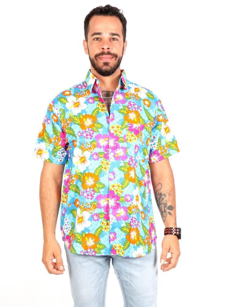 Camisa Flores de colores [CMEK21] para comprar al por Mayor o Detalle en la categoría de Camisas de Manga Corta