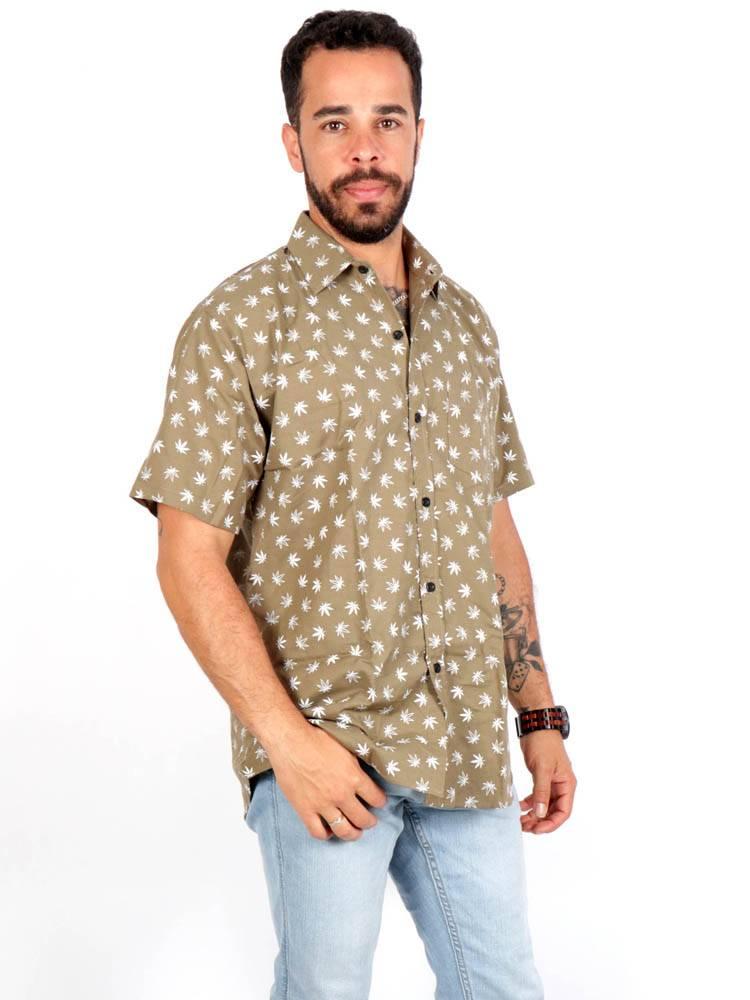 Camisa Hojas de Marihuana Pequeñas [CMEK22] para comprar al por Mayor o Detalle en la categoría de Camisas de Manga Corta