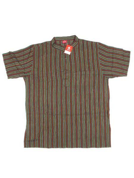 Camisa hippie de rayas - Verde osc Comprar al mayor o detalle