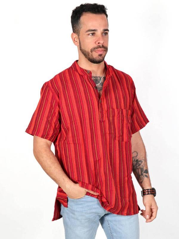 Camisa 100% algodón con cuello mao bolsillo y botones de madera/coco. Comprar - Venta Mayorista y detalle