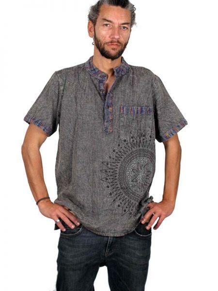 Camisa 100% algodón lavado piedra con cuello mao bolsillo y Comprar - Venta Mayorista y detalle