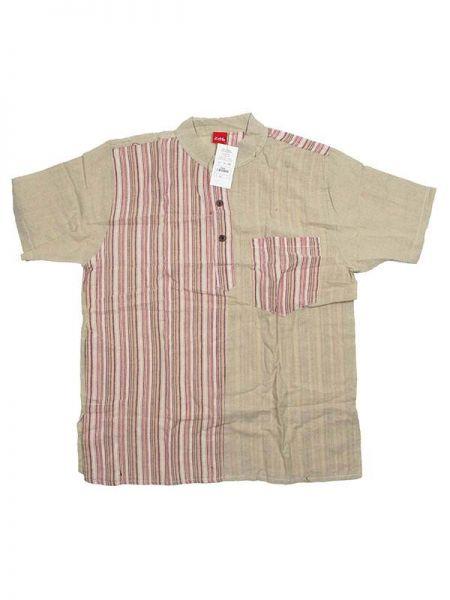 Camisas Hippies M Corta - Camisa de algodón combinado CMEV08 - Modelo Natural