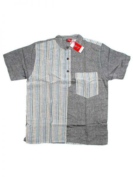 Camisas Hippies M Corta - Camisa de algodón combinado CMEV08 - Modelo Gris