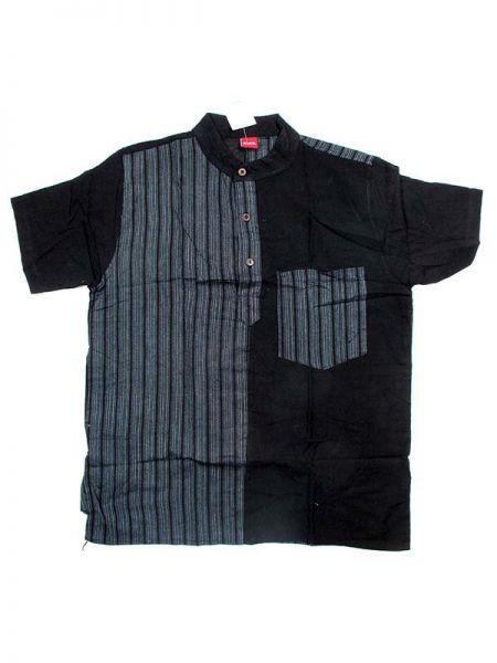 Camisas Hippies M Corta - Camisa de algodón combinado CMEV08 - Modelo Negro