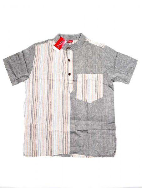 Camisa de algodón combinado rayas liso de manga corta con cuello Comprar - Venta Mayorista y detalle