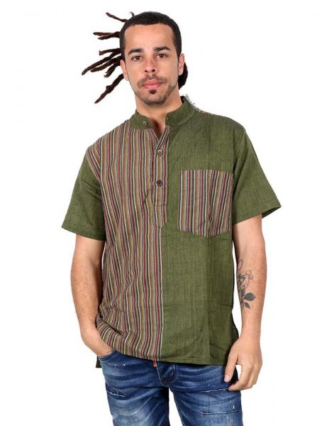 Camisas Hippies M Corta - Camisa hippie de manga corta [CMEV08] para comprar al por mayor o detalle  en la categoría de Ropa Hippie Alternativa para Hombre.