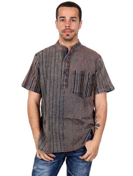 Camisa hippie rayas patchwork manga corta - Detalle Comprar al mayor o detalle