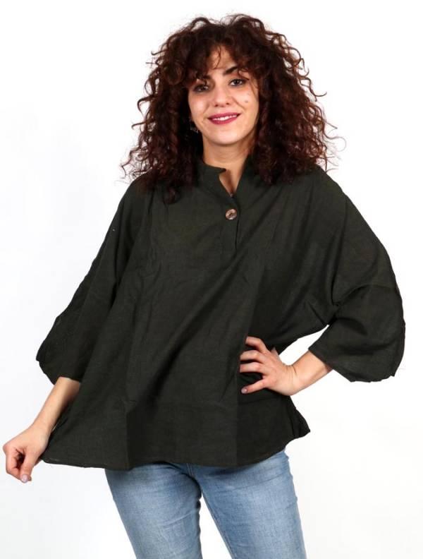 Camisola amplia con botón de coco [CMEV15] para comprar al por Mayor o Detalle en la categoría de Camisetas Blusas y Tops