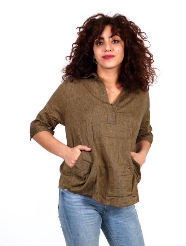 Camisa lisa con cuello pico y bolsillos [CMEV17] para comprar al por Mayor o Detalle en la categoría de Camisetas Blusas y Tops