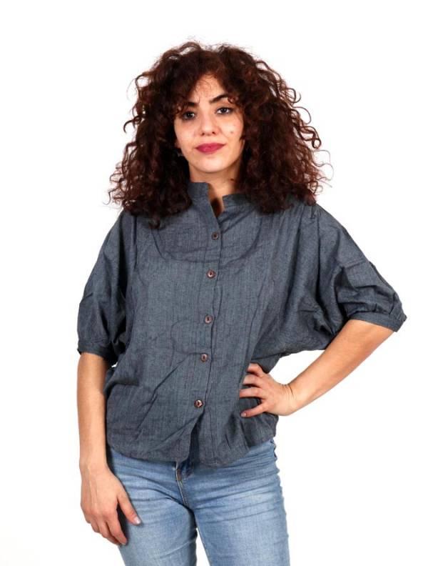 Camisa lisa con cuello pico y botones de coco [CMEV18] para comprar al por Mayor o Detalle en la categoría de Camisetas Blusas y Tops