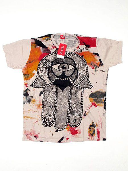 Camiseta Mirror Mano de Fátima - Crema Comprar al mayor o detalle