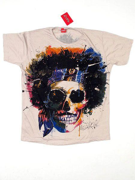 Camiseta Mirror Calavera Hippy CMMI18 para comprar al por mayor o detalle  en la categoría de Ropa Hippie Alternativa para Hombre.