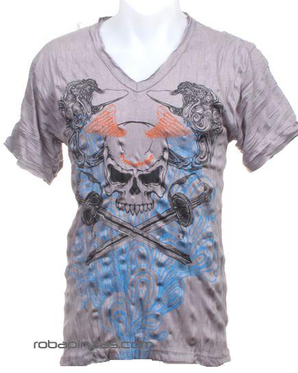 Camiseta calavera espada, algodón cuello pico Comprar - Venta Mayorista y detalle