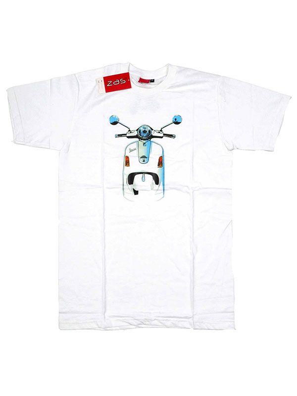 Camiseta moto Vespa frontal. - Blanco Comprar al mayor o detalle