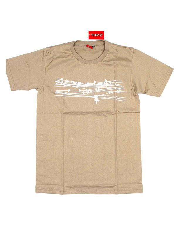 Camiseta Birds and Cat - Beige Comprar al mayor o detalle