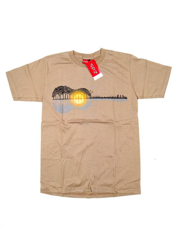 Camiseta Guitar Forest Sunset - Beige Comprar al mayor o detalle