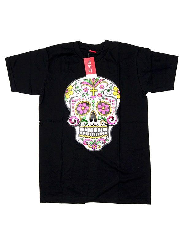 Camisetas T shirts - Camiseta Mexican Skull [CMSE78] para comprar al por mayor o detalle  en la categoría de Ropa Hippie Étnica para Chicos.