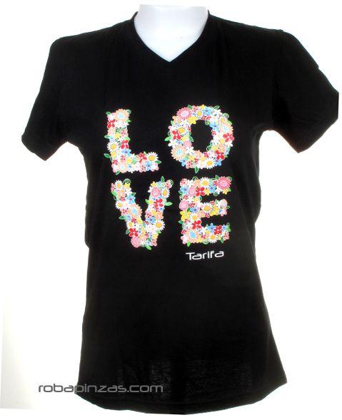 Love Tarifa, camiseta de algodón manga corta cuello pico Comprar - Venta Mayorista y detalle